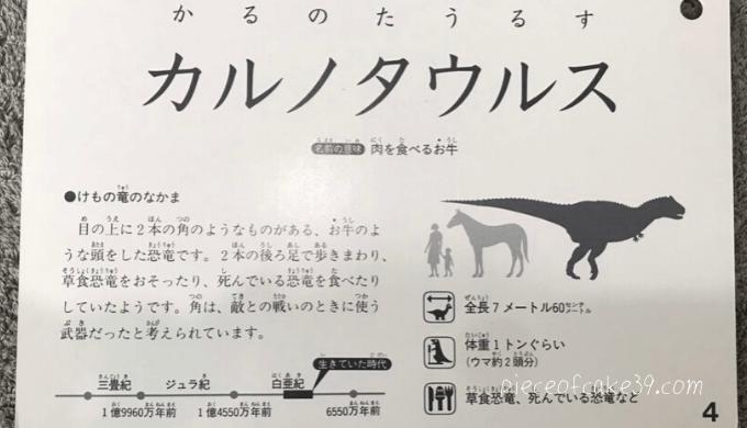 公文「恐竜カード裏面」